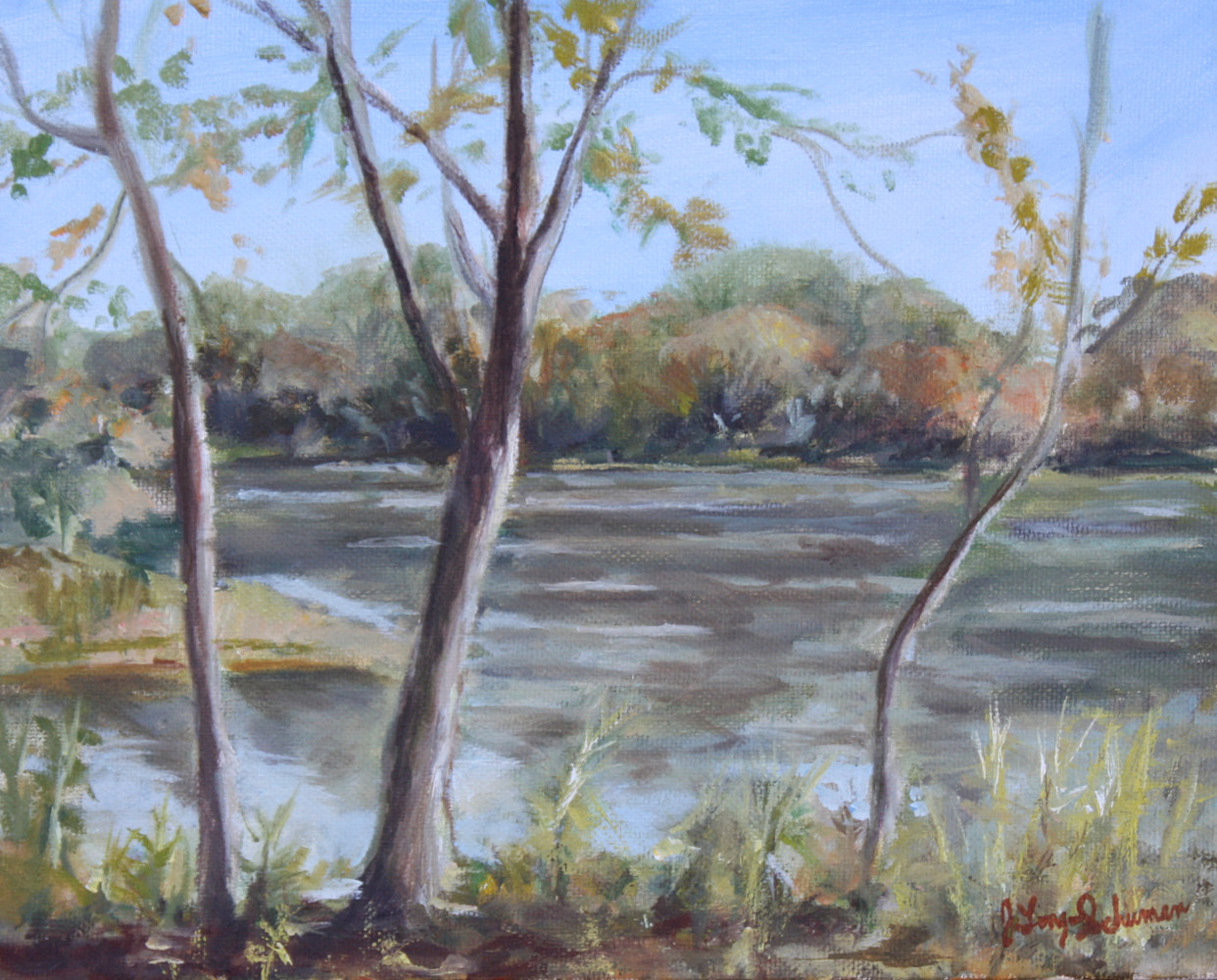 Oil painting Peconic River view by June Long-schuman
