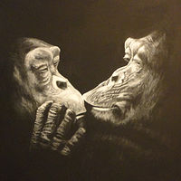 Acrylic painting Kissing Primates by Elizabeth Mercer