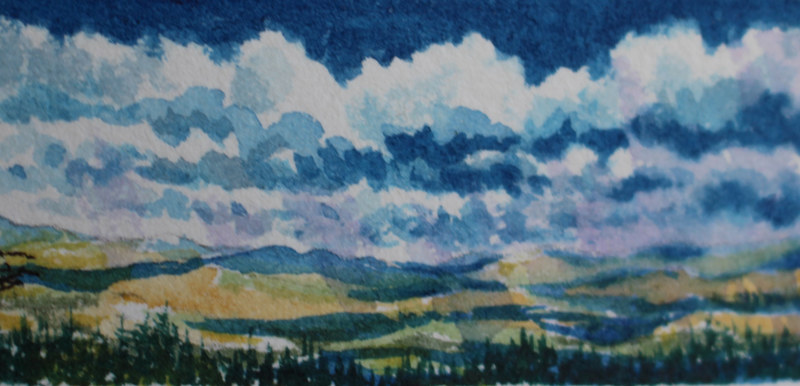 Watercolor From the top of Mount Everett by Wanda Hawse