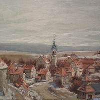 Oil painting Dohna My Home Town  (Mein Heimat Ort) by Josef-Peter  Roemer