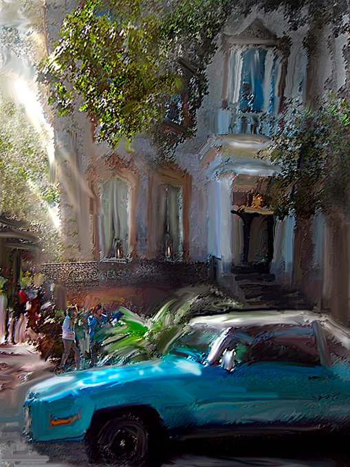 Watercolor Blue Car, Savannah by Bernard Dick