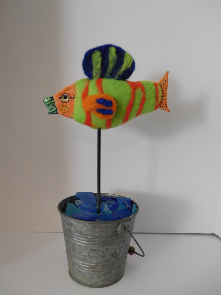 Felted Flat fish by Valerie Johnson