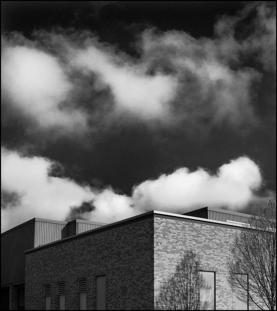 DSC01544B&W Building & Clouds by Jim Friesen