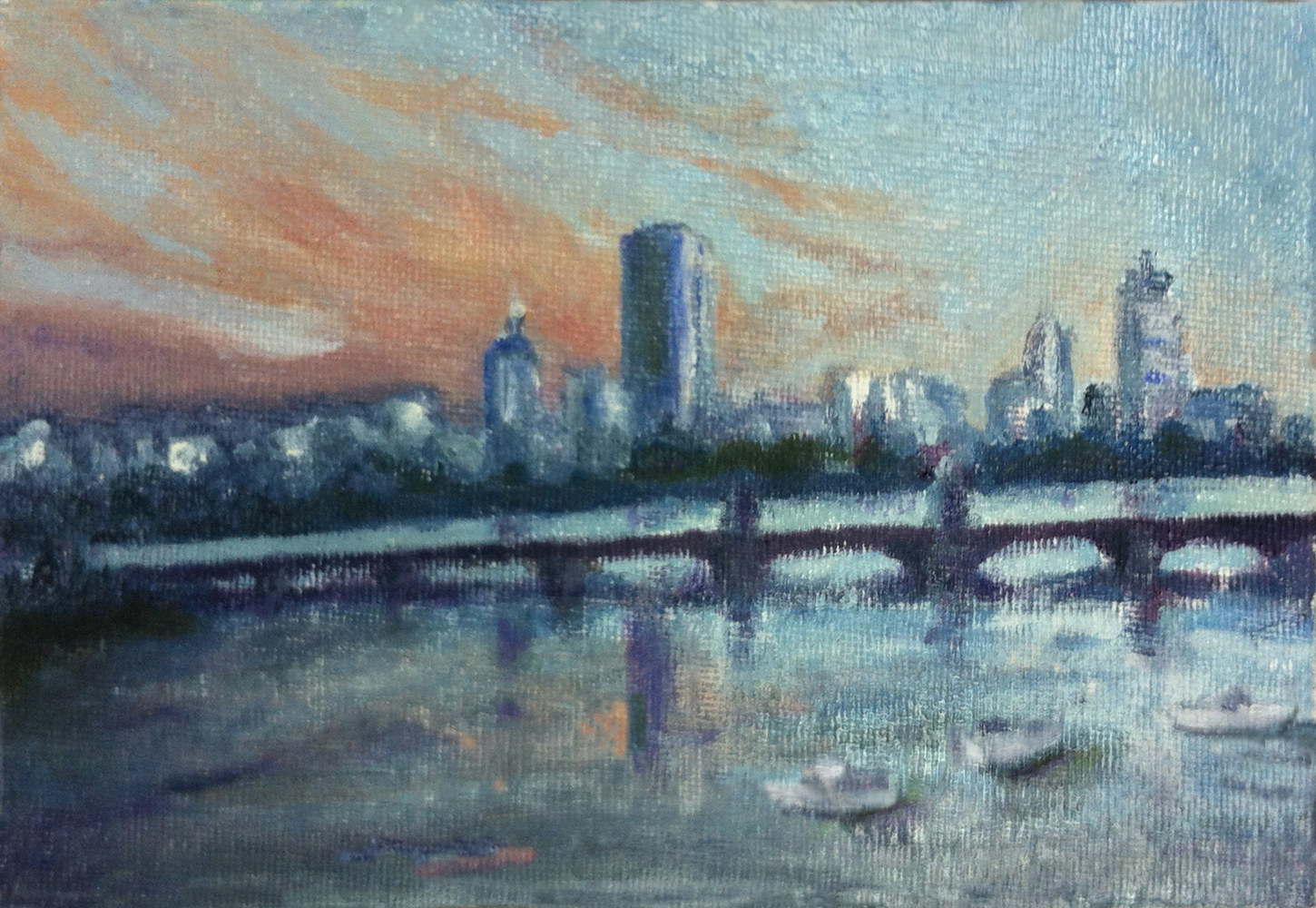 Oil painting View of Boston at Dusk by Anastasia O'melveny