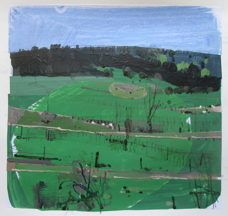 Acrylic painting First Green on Coyote Hill by Harry Stooshinoff