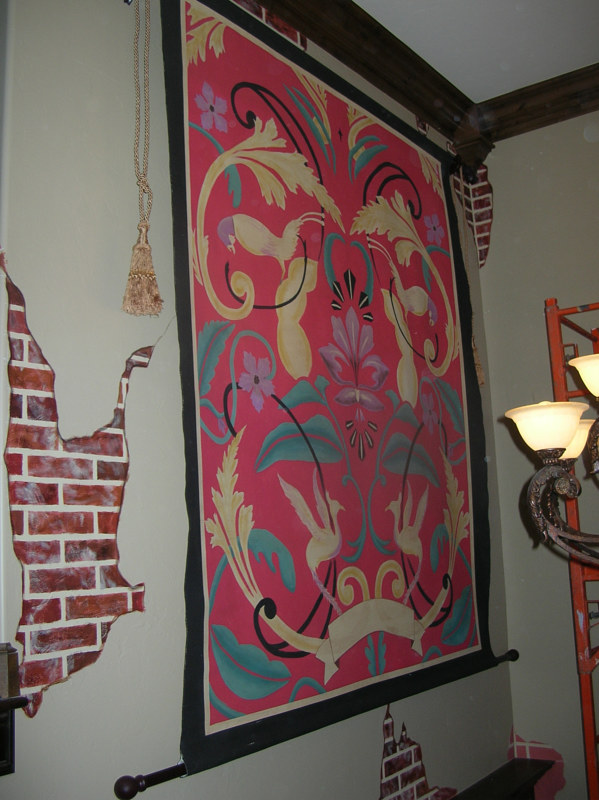 Hand Painted Tapestry-Edmond, OK by Elizabeth Mercer
