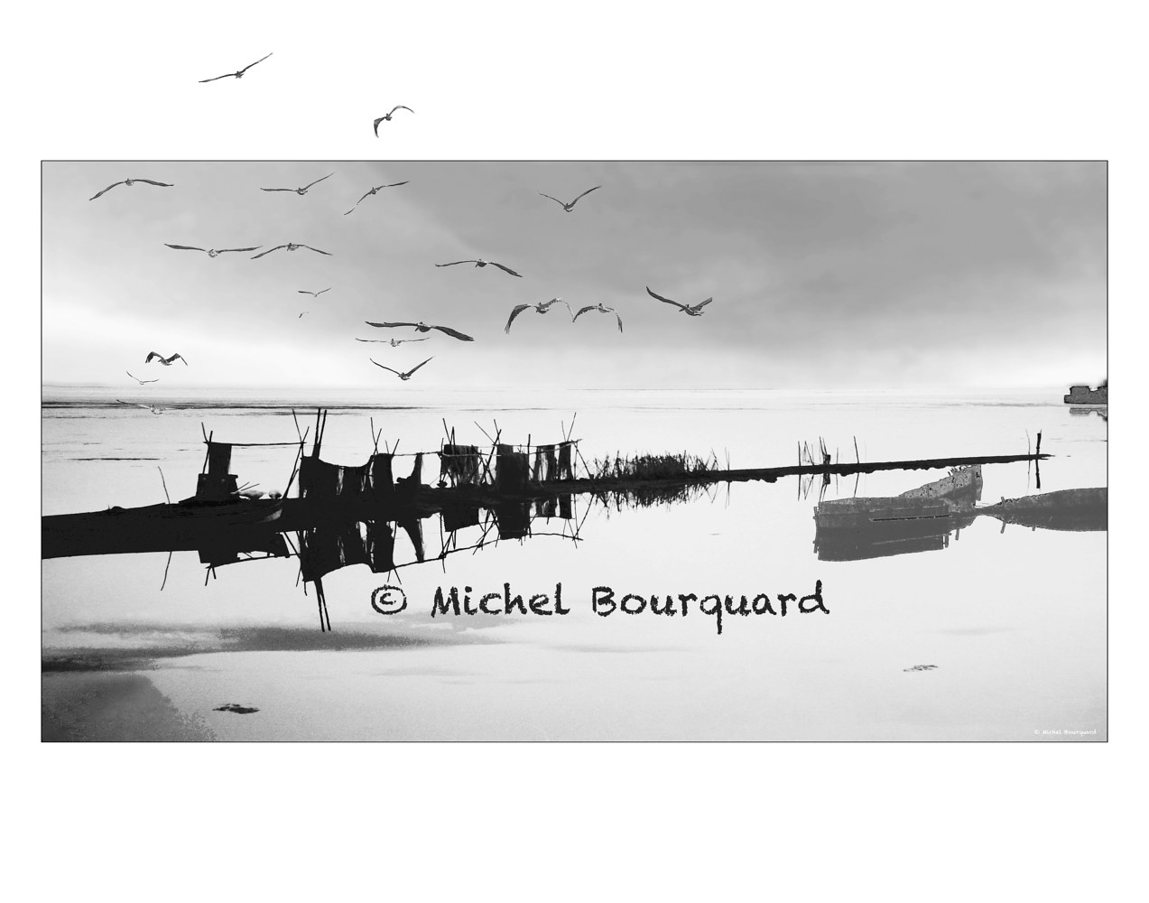 Somewhere In The Venezia Laguna -Birds flying out of the frame by Michel Bourquard