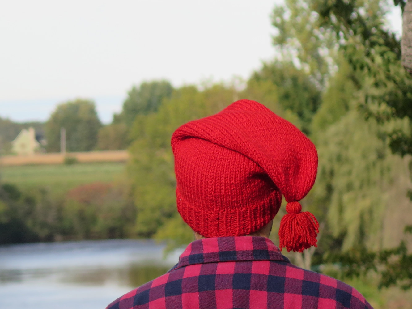 Tuque de patriote rouge pure laine avec pompon Red wool liberty hat - Red liberty hat - Wool liberty cap by Genevieve Desy
