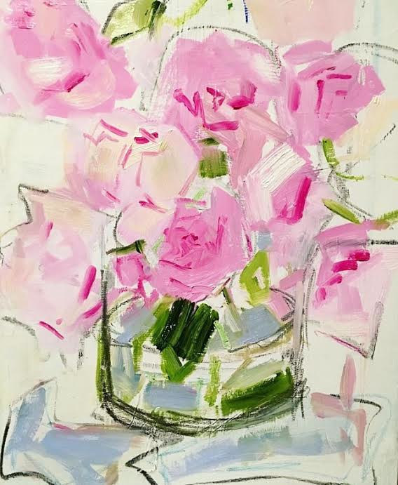 Oil painting Peony Study by Sarah Trundle