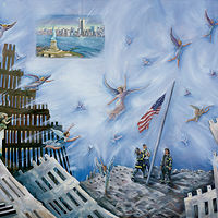Oil painting Soaring Spirits at Ground Zero by June Long-schuman
