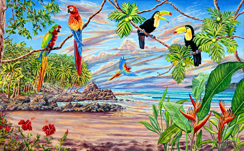 Oil painting Birds of Paradise by Richard Ficker