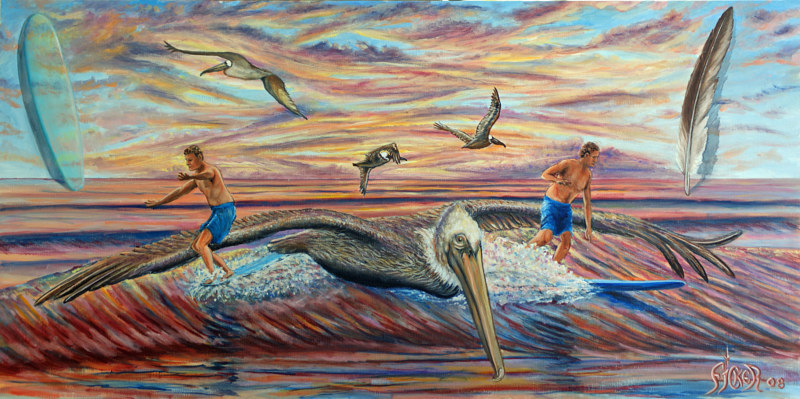 Oil painting Brother Pelican by Richard Ficker