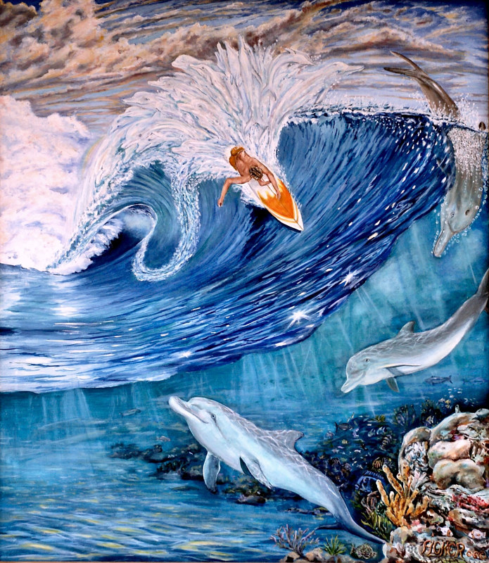 Oil painting Where Dolphins Come From by Richard Ficker