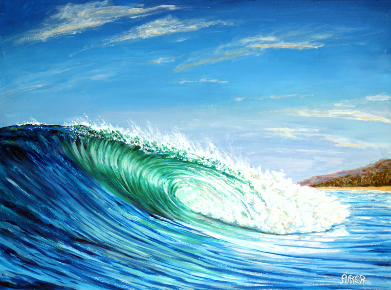 Oil painting Wave by Richard Ficker