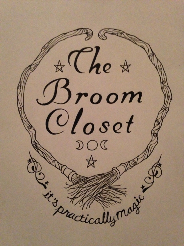 Drawing The Broom Closet, it's practically magic, metaphysics store by Elizabeth Mercer