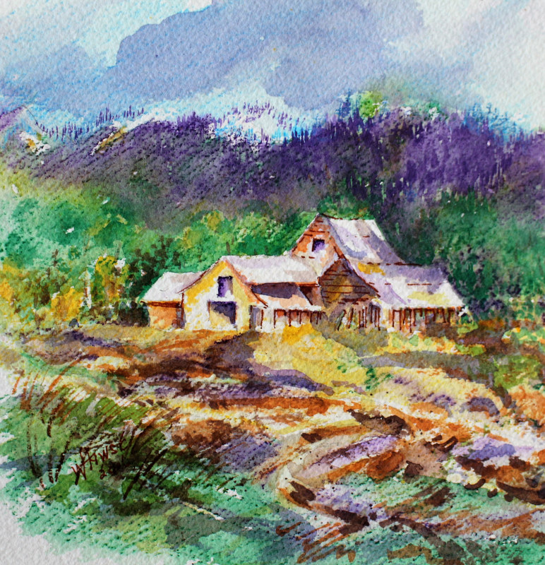 Watercolor Spring in the Valley #2 by Wanda Hawse