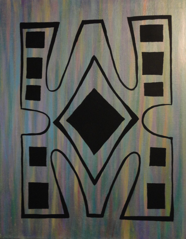 Acrylic painting Cameroon Stylized Frog Design by Elizabeth Mercer
