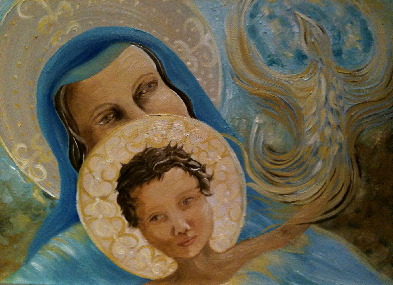Oil painting Mary Pondered All These Things by Jayne Crawford