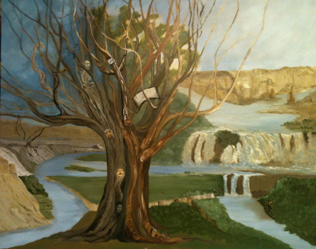 Oil painting The Tree of the Knowledge of Good and Evil by Jayne Crawford