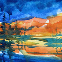 Watercolor  Sunset on the Lower Fraser #1 by Wanda Hawse