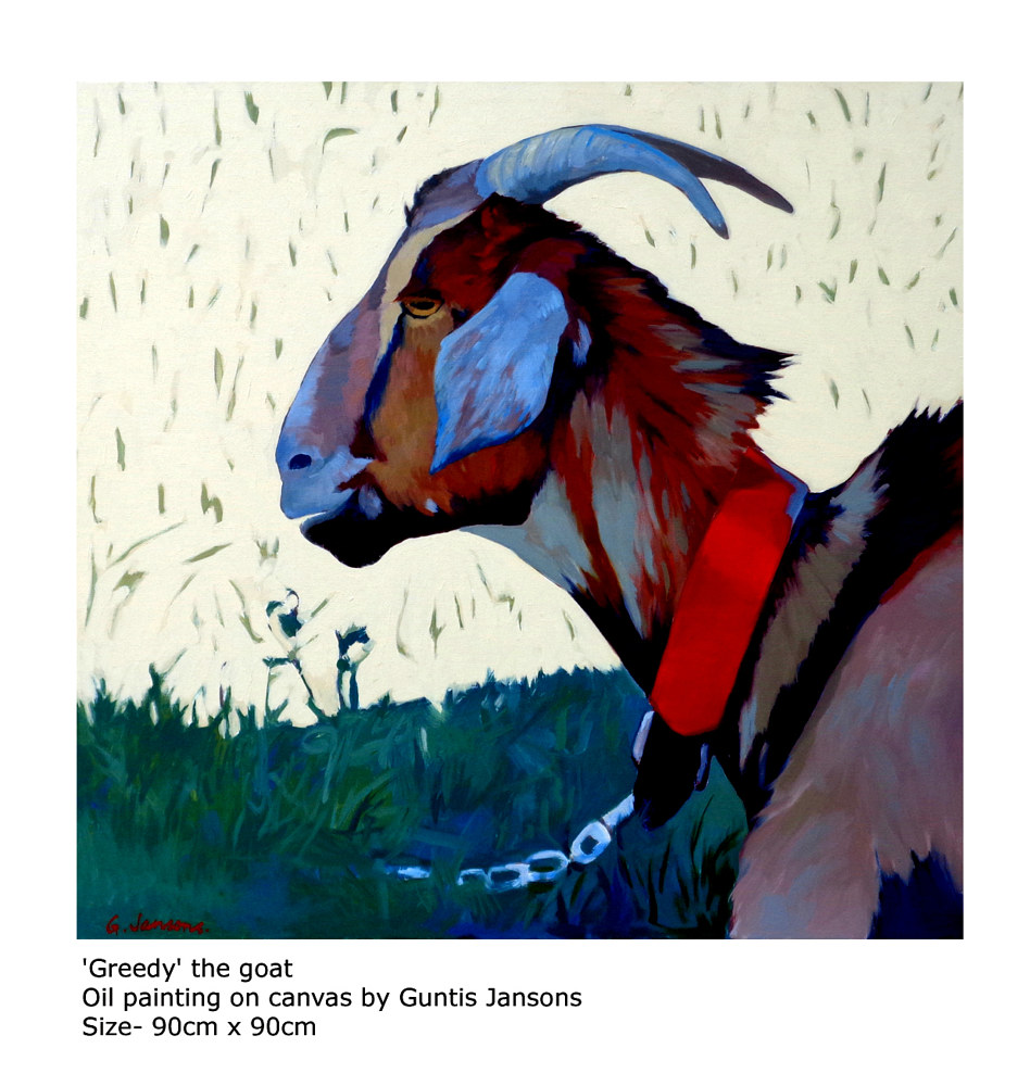 Oil painting 'Greedy' the goat by Guntis Jansons