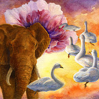 Watercolor Geese & Elephant by Lisa  Baechtle