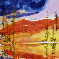 Watercolor Sunset on the Lower Fraser #2 by Wanda Hawse