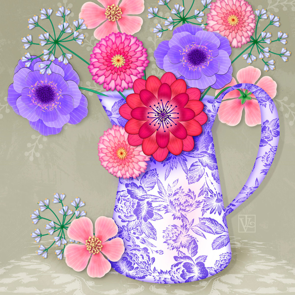 Flowers in Pitcher by Valerie Lesiak