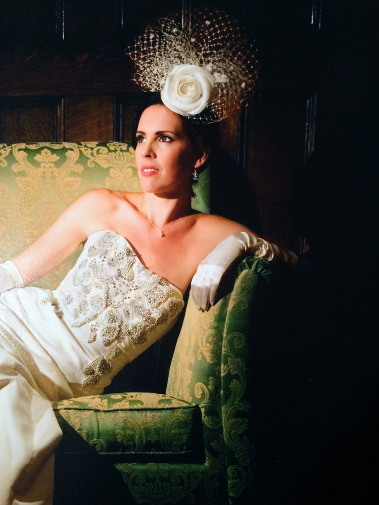 Me on my wedding day with my first bridal headdress! by Fiona Menzies