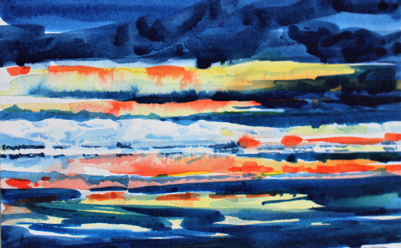 Watercolor Sunset on the Fraser River, Progression #3 by Wanda Hawse