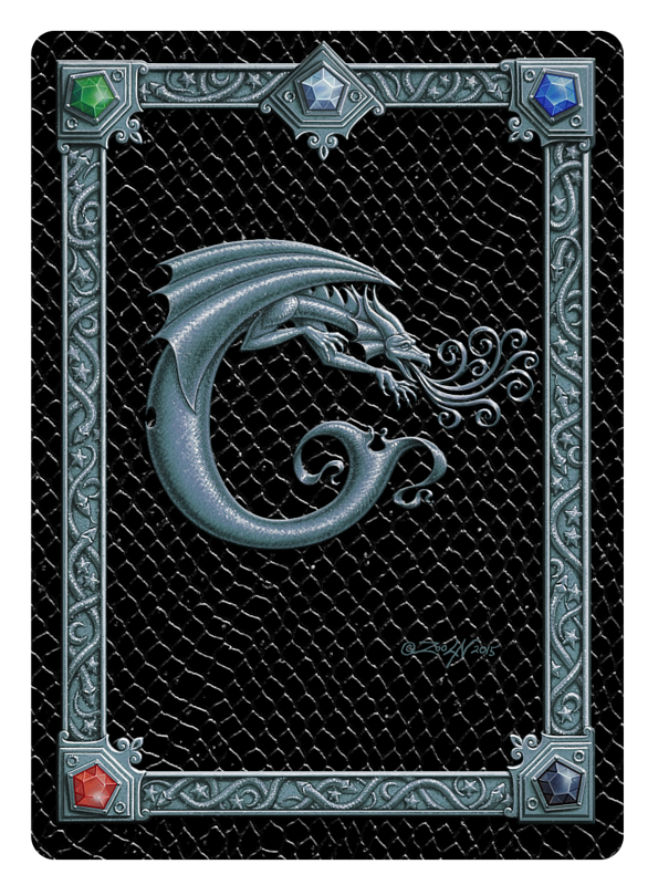 Draco Token C, Silver on Black by Sue Ellen Brown