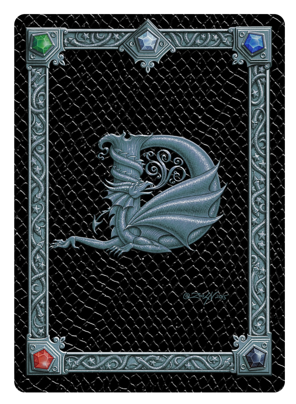 Draco Token D, Silver on Black by Sue Ellen Brown