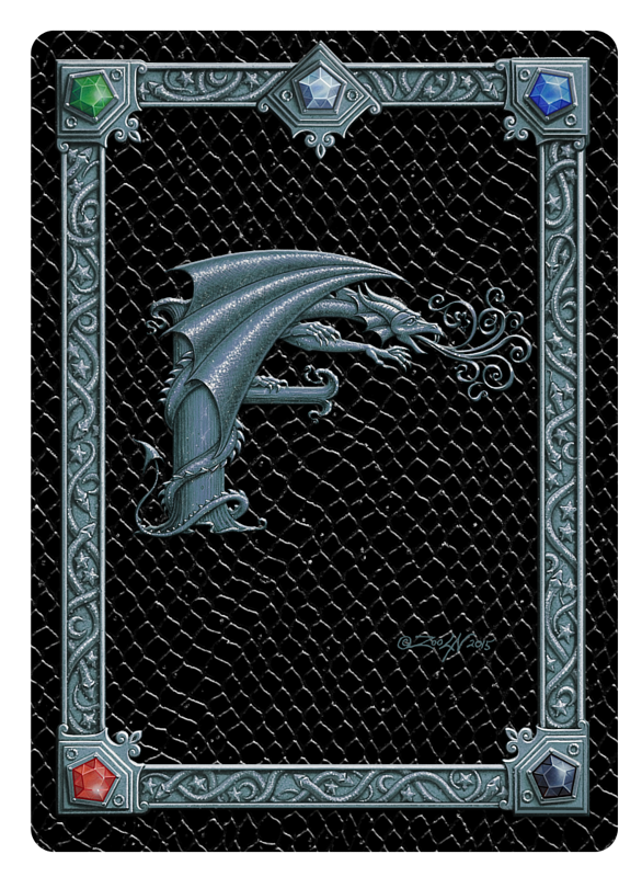 Draco Token F, Silver on Black by Sue Ellen Brown
