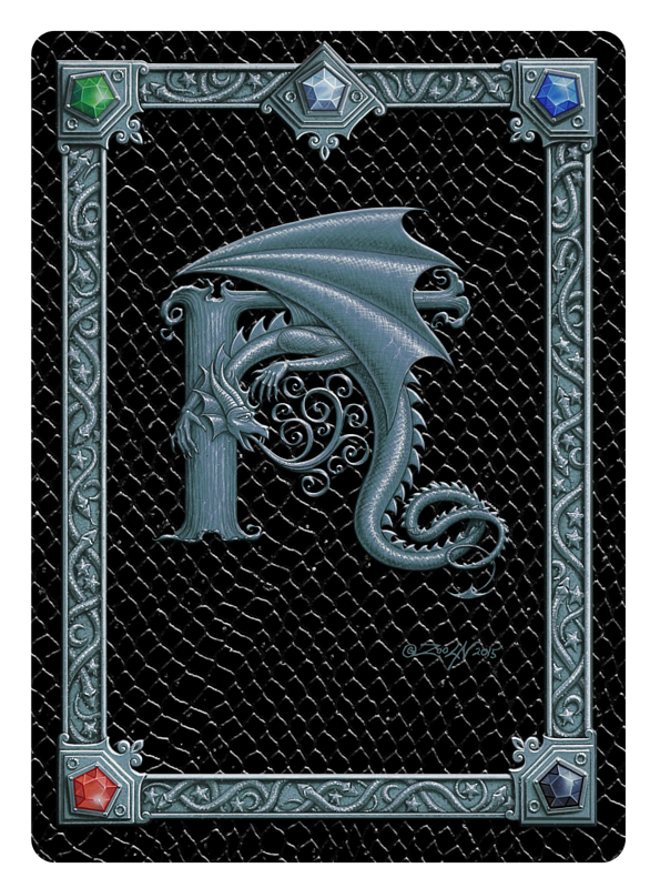 Draco Token H, Silver on Black by Sue Ellen Brown