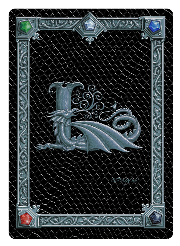 Draco Token L, Silver on Black by Sue Ellen Brown