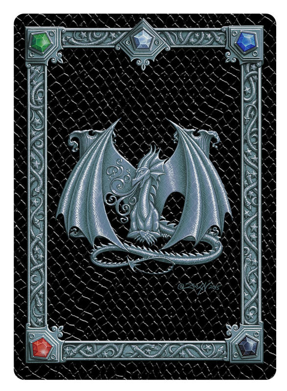 Draco Token M, Silver on Black by Sue Ellen Brown