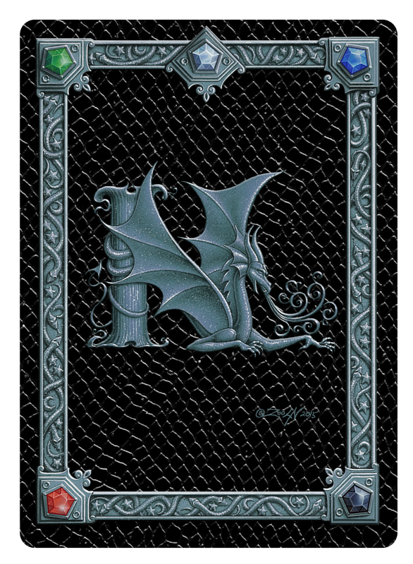 Draco Token N, Silver on Black by Sue Ellen Brown