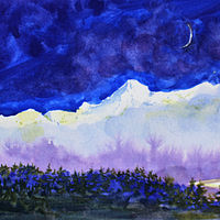 Watercolor Early Night on the Fraser at Hope, BC by Wanda Hawse