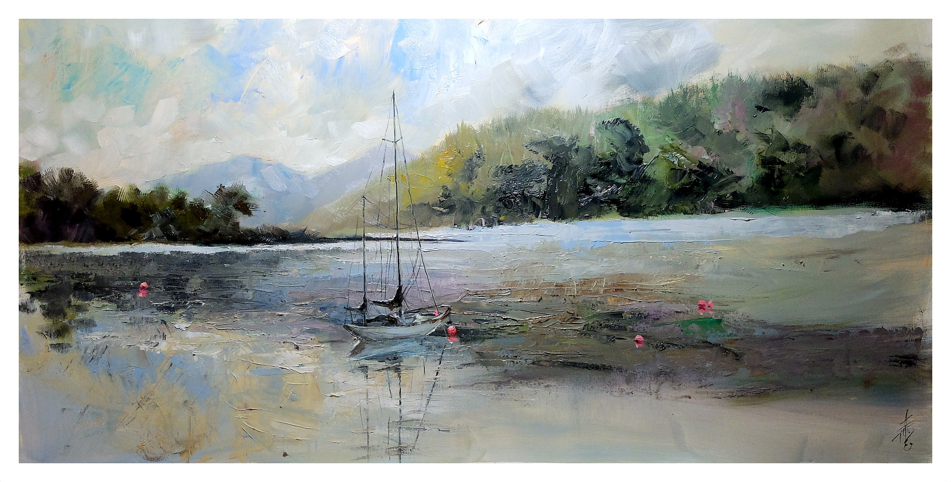 Calm Beauty, 24x48 oil on boxcanvas.  by Anne Farrall Doyle