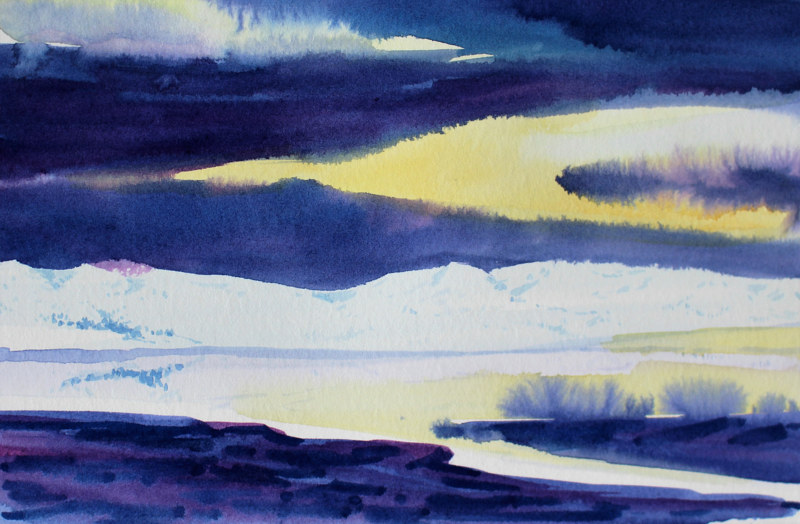 Watercolor Nightfall at Hope, BC by Wanda Hawse
