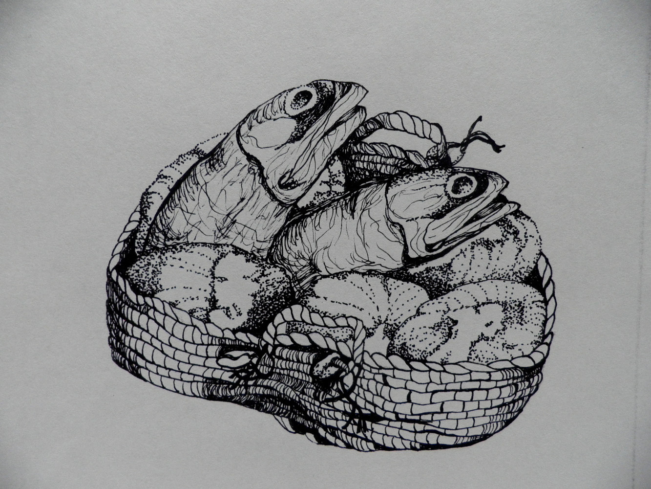 Drawing Loaves & Fishes by Jayne Crawford