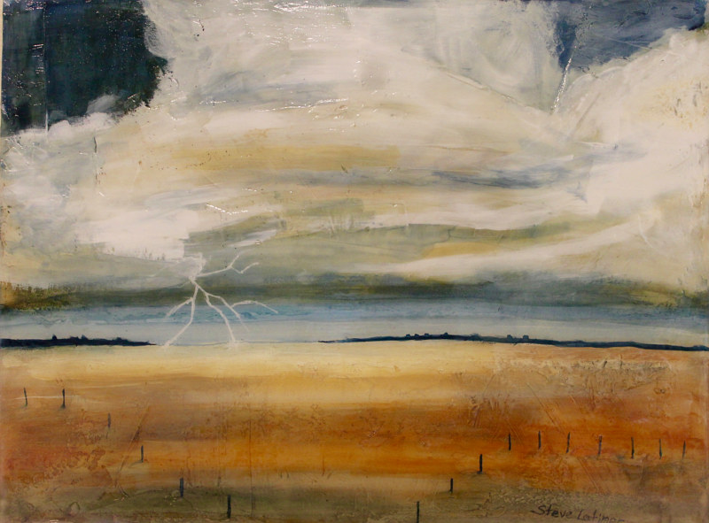 Mixed-media artwork Spring Lightning Storm by Steve Latimer