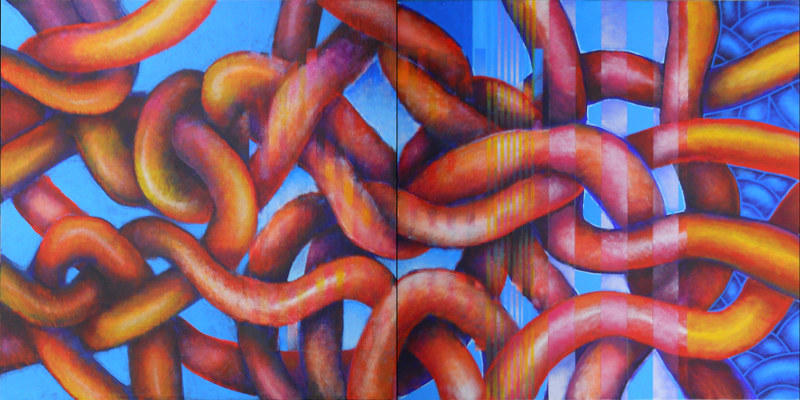 Acrylic painting Wiggly & Squiggly by Kevin Mclaughlin
