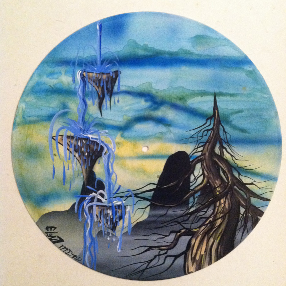 Water Fall  - Painting on Vinyl Record by Mr Mizu by Isaac Carpenter