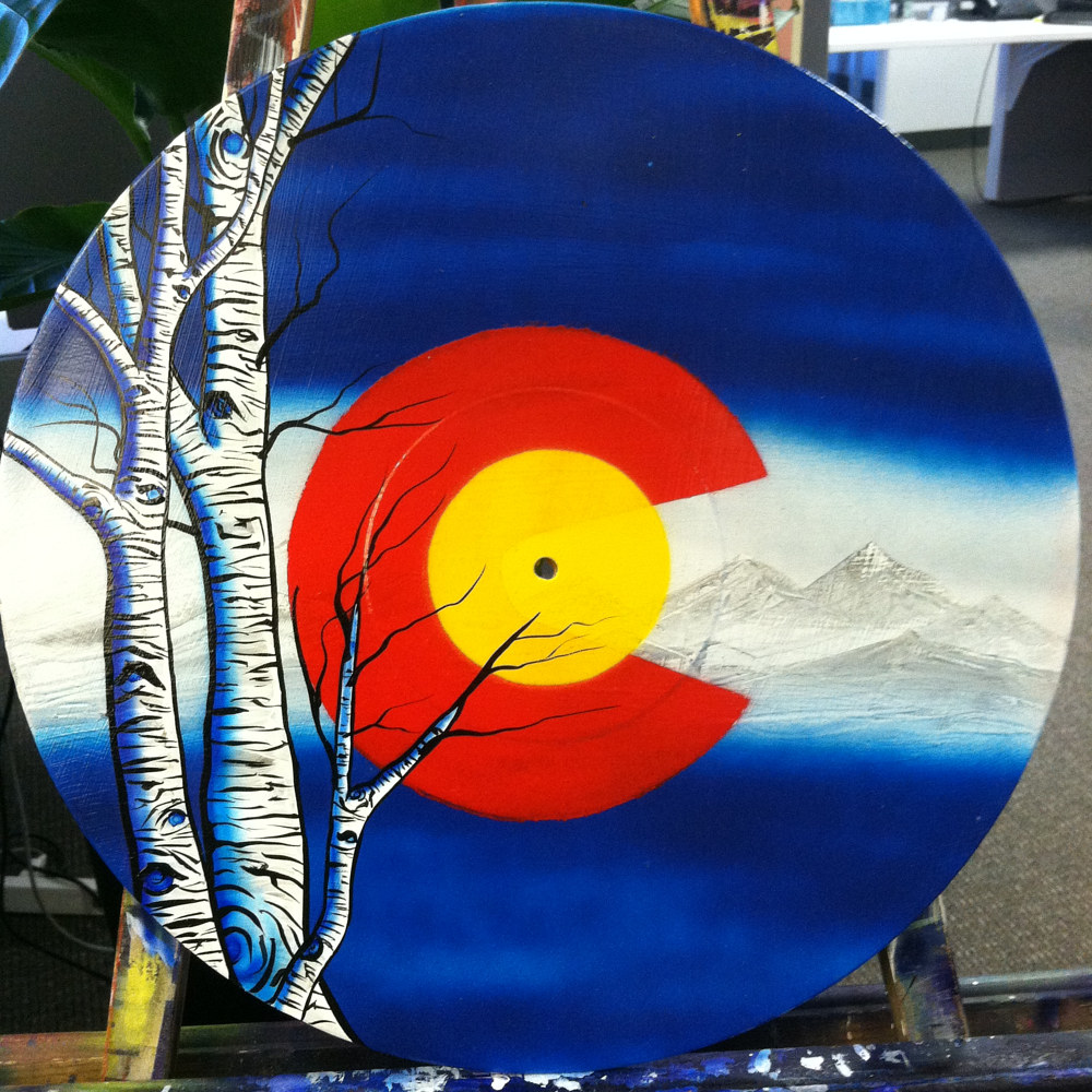 Flag with Aspens  - Painting on Vinyl Record by Mr Mizu by Isaac Carpenter