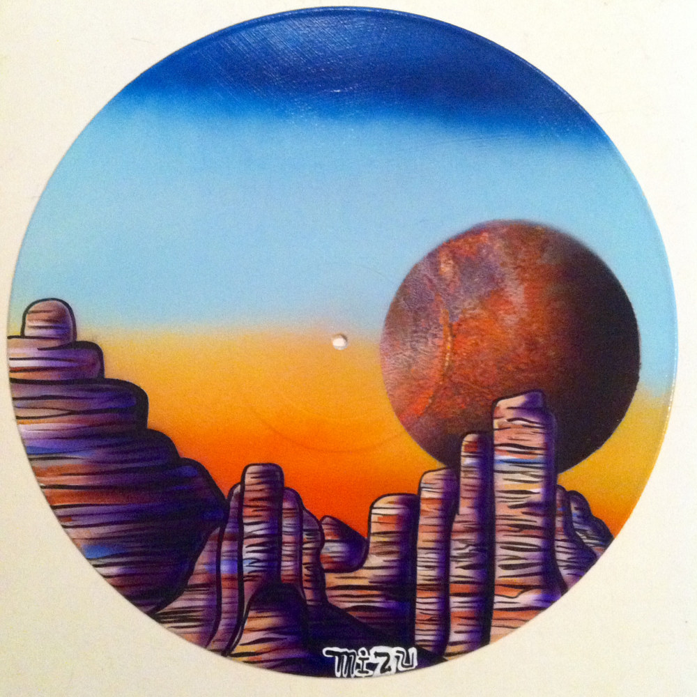 Dry Canyon  - Painting on Vinyl Record by Mr Mizu by Isaac Carpenter