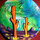 Orange Saguaros  - Painting on Vinyl Record by Mr Mizu by Isaac Carpenter