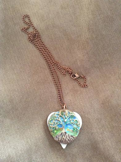 Painting Tree of life pendant with peridot crystals by June Long-schuman