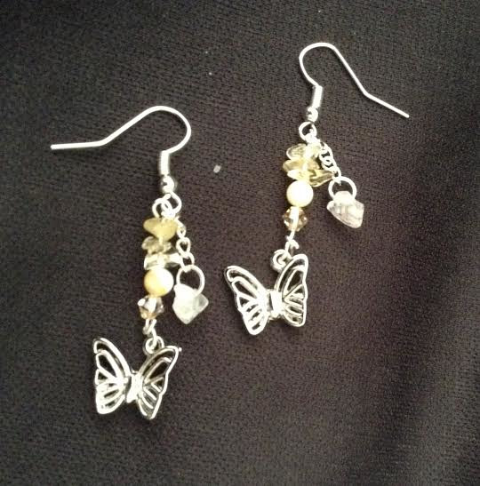 Butterfly earring with citrine stones by June Long-schuman