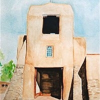 Watercolor San Miguel Mission by Melissa Kenyon Mcintyre